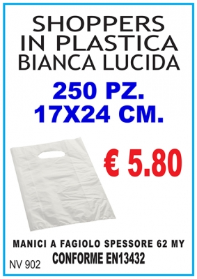 250 SHOPPERS IN PLASTICA BIANCA 17X24 CM.